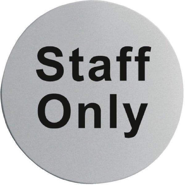 """Edelstahltürschild """"Staff Only"""", 75(Ø)mm"""