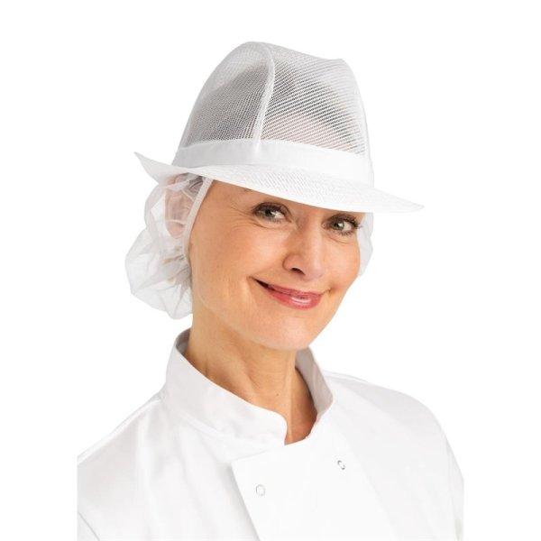 Trilby Hut mit Haarnetz weiß Größe S