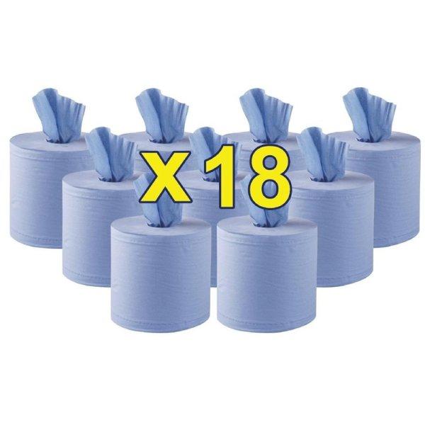 Jantex 2-lagige Handtuchrollen mit Innenabwicklung blau 120m (18 Stück)