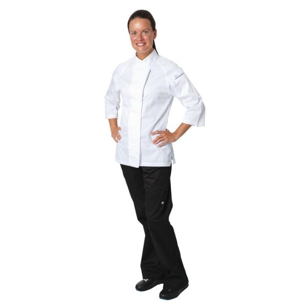 Chef Works Cool Vent Damenkochjacke Verona dreiviertelarm weiß/grau XL