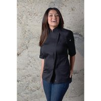 Chef Works Springfield Kurzärmelige Reißverschlusskochjacke Damen schwarz XXL