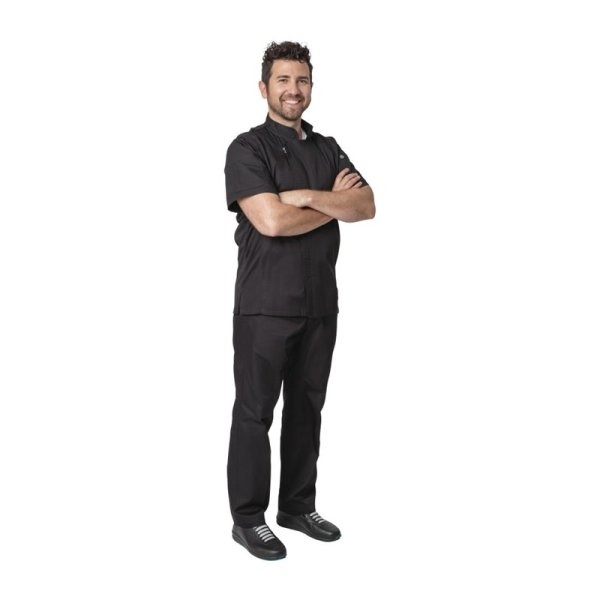 Chef Works Springfield Herrenkochjacke kurze Ärmel schwarz L