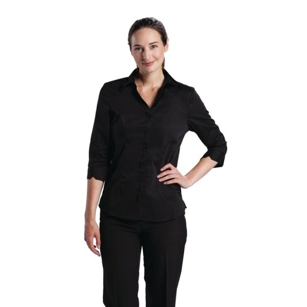 Uniform Works Damen Stretch Hemdbluse dreiviertelarm schwarz M