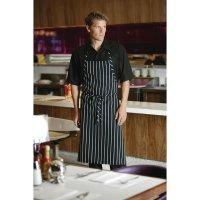 Chef Works Premium Latzschürze schwarz-weiß gestreift